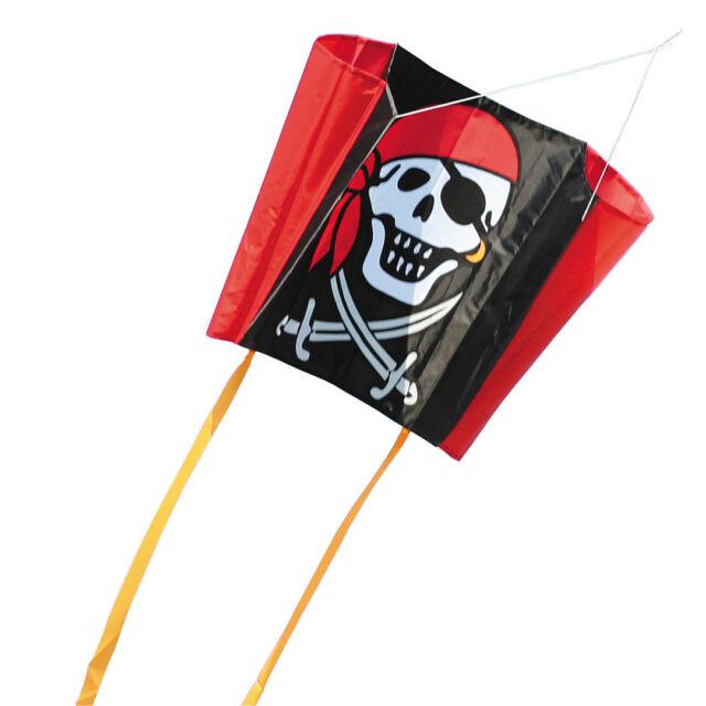 Pocket Sleddy Jolly Roger Pirat stabloser Drachen mit Tasche HQ Kinderdrachen