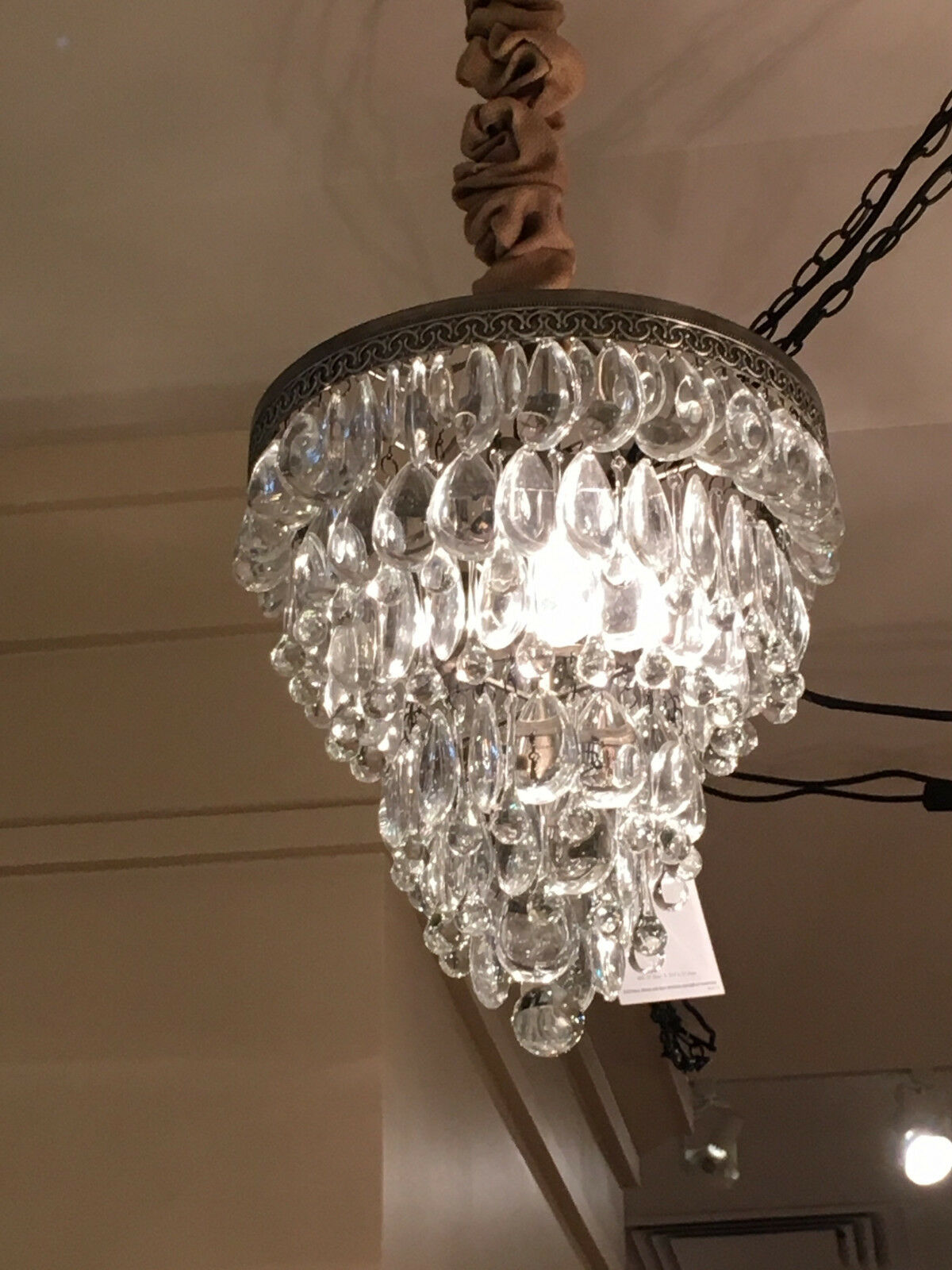 Pottery barn 2680098 clarissa glass drop chandelier antique silver resntentobalflowflowcomponenttechnicalissues arubaitofo Image collections