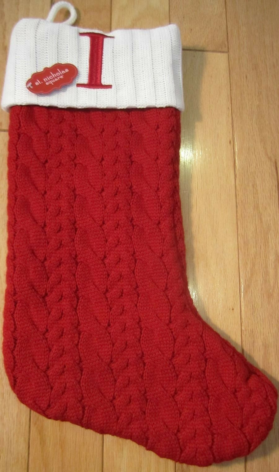 St. Nicholas Square Initialed Red Cable Knit Christmas Stocking W ...