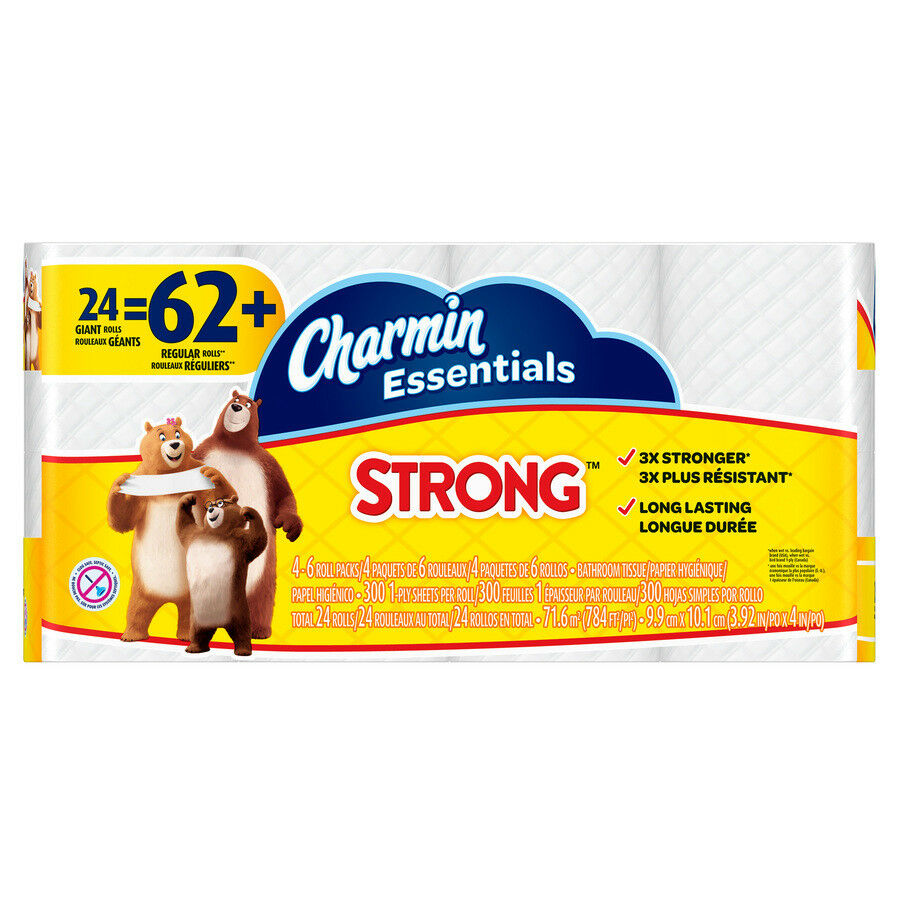 Charmin 24 Pack Strong Toilet Paper Tissue Bath Double Roll Long Lasting
