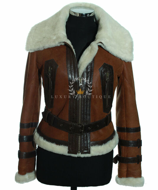 Ladies Aviator Rust Brown B3 Bomber Shearling Sheepskin Leather ...