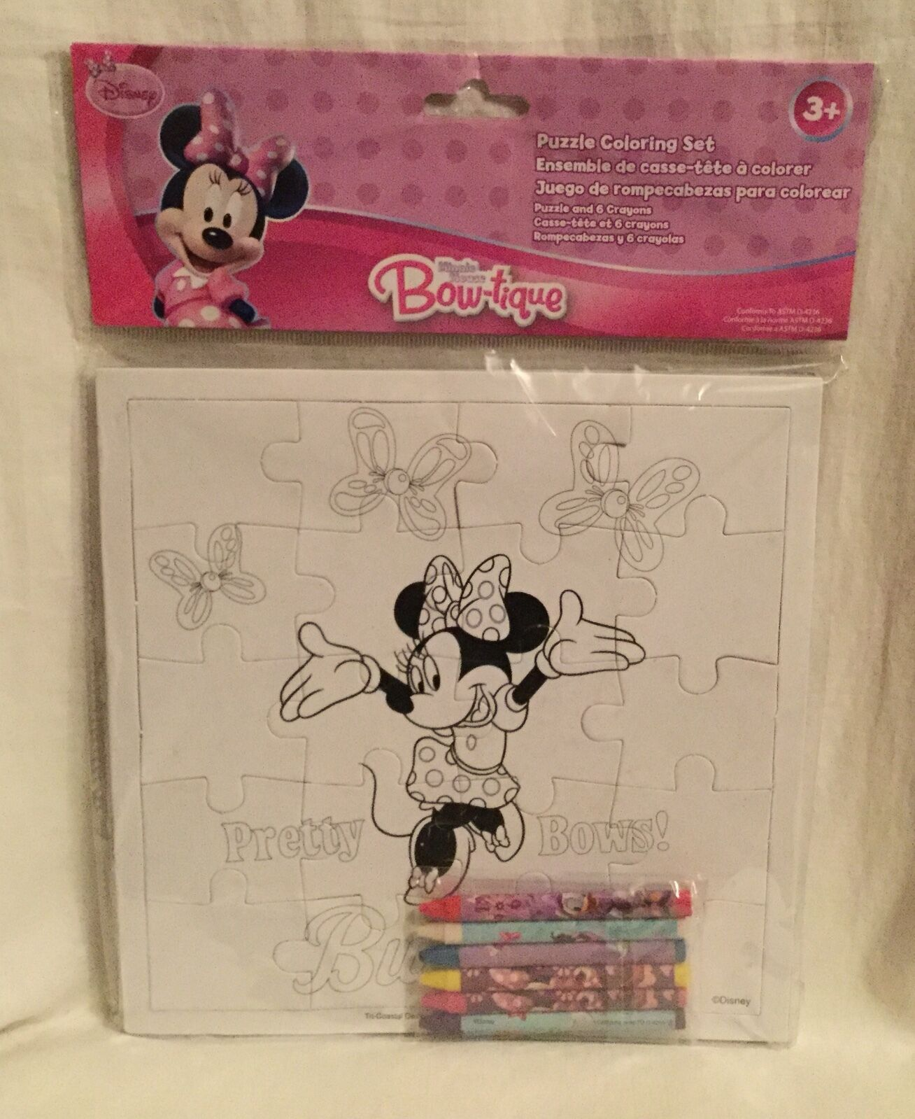 Disney Junior Puzzle & 6 Crayons Coloring Set - Minnie Mouse Bow ...