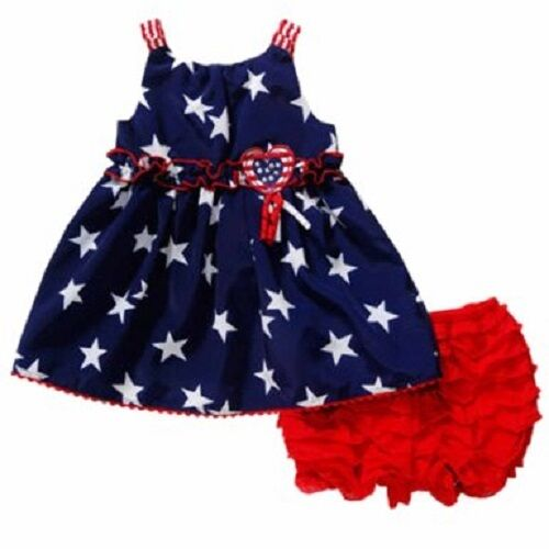 Youngland Baby Usa Stars Blue Dress Red Bloomers Outfit Baby Girl
