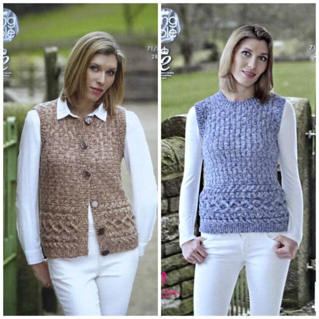King Cole Aran Knitting Pattern 4623 Ladies Waistcoat Slipover Ebay