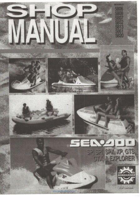 seadoo service shop manual 1993 sp spx spi xp gts gtx explorer ebay rh ebay com 1993 seadoo bombardier spx manual 1993 Seadoo XP