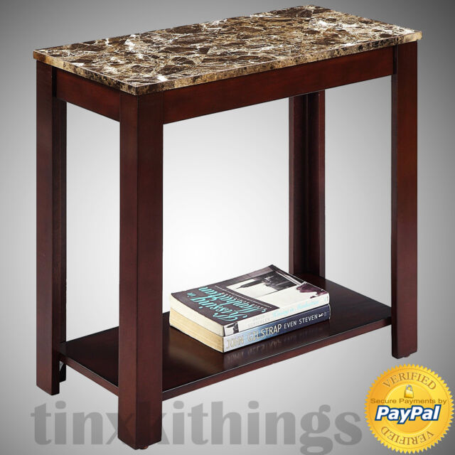 Side Tables With Storage Desk Entryway Faux Marble Living Room For Small  Spaces | EBay