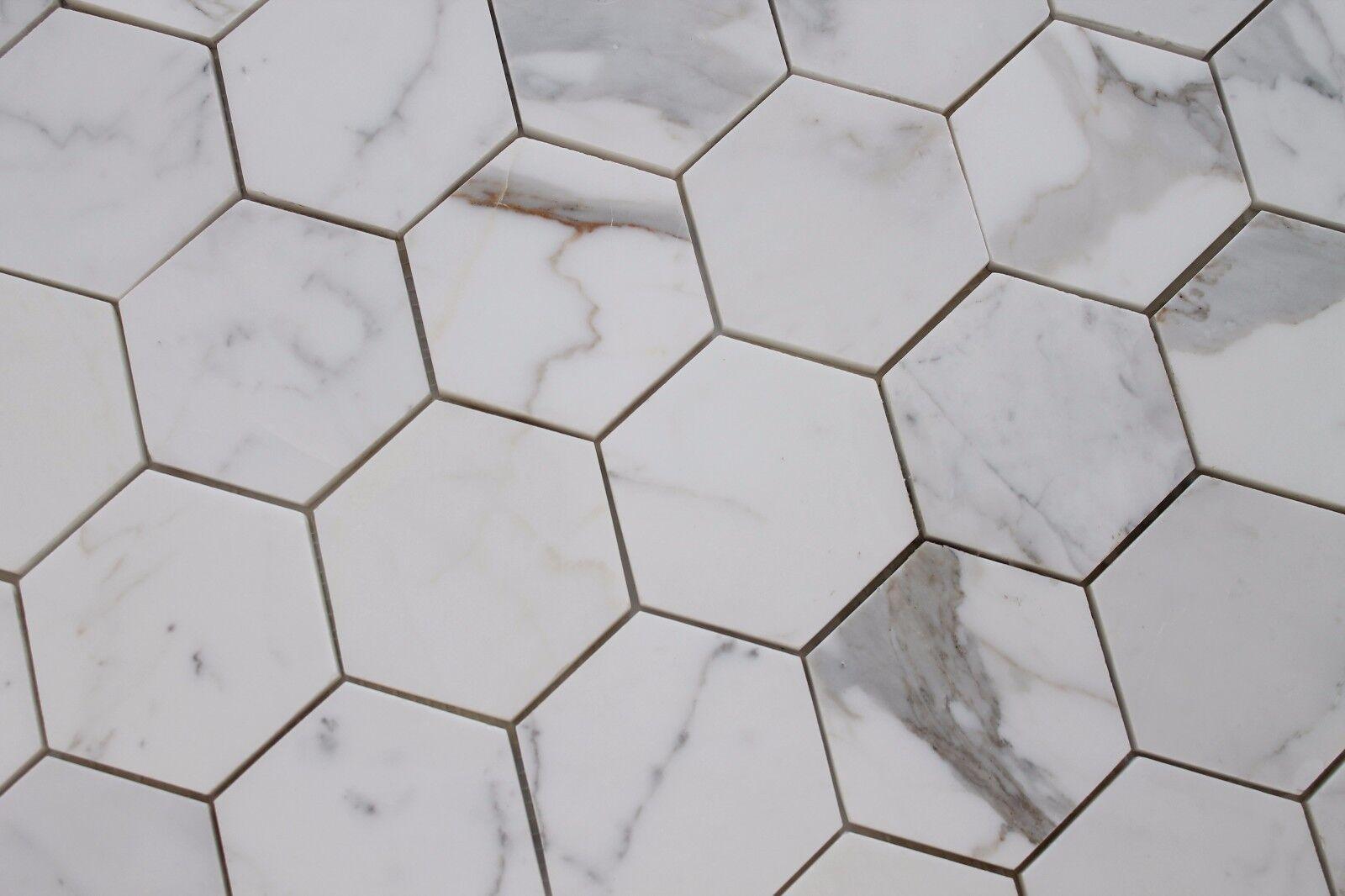 Calacatta Gold 4 Inch Hexagon Mosaic Tiles - Kitchen Backsplash ...