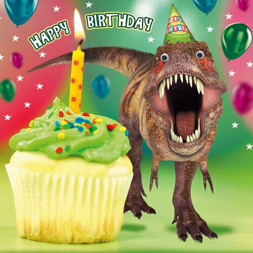 Dinosaur Birthday Card Jurassic Cake 3d Goggly Moving Eyes Funny ...