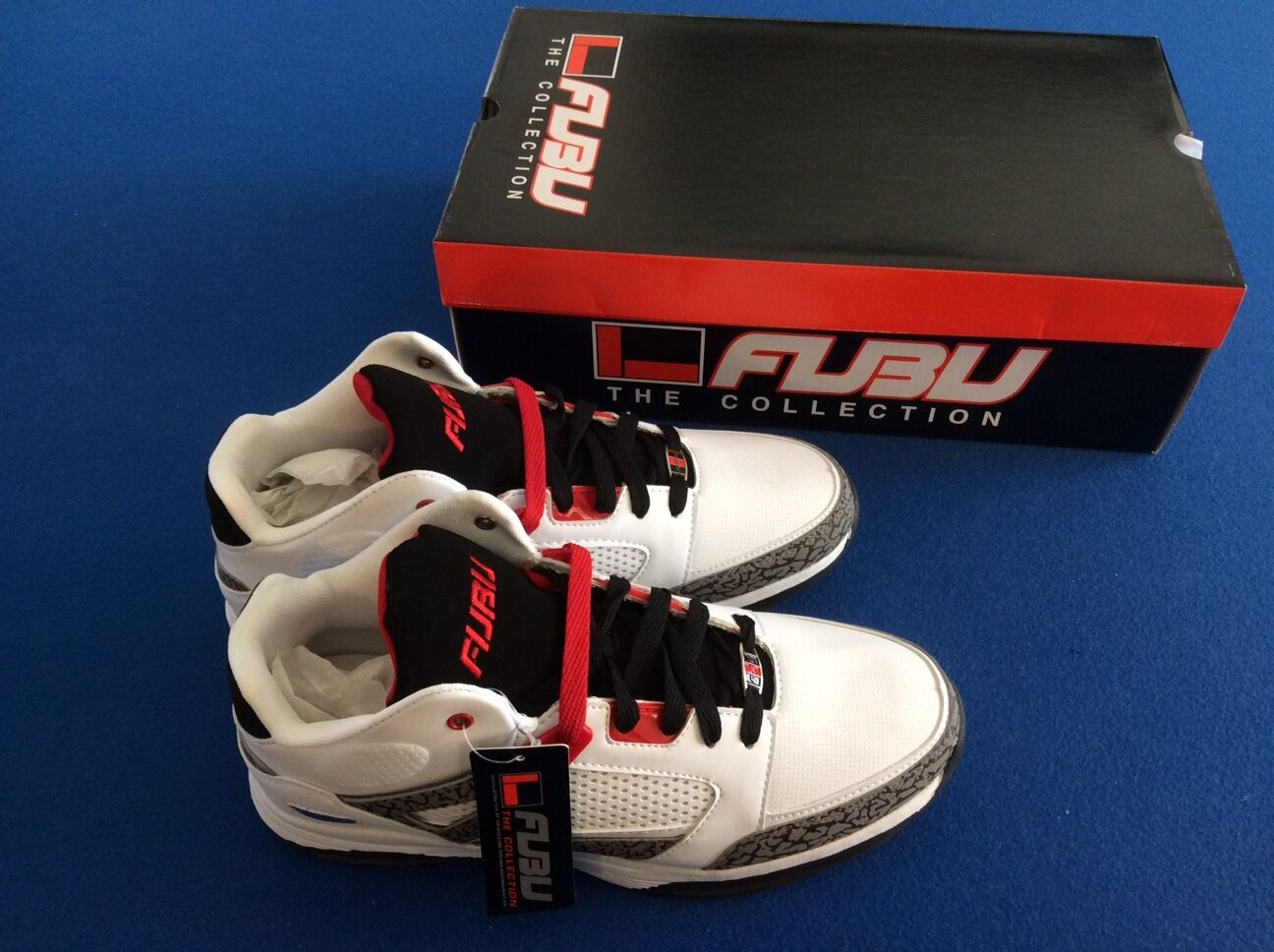 89d870910440 FUBU Athletic Reed 3 Basketball Shoes Mid Cut SNEAKERS Sz 12 White GreyRed  Black
