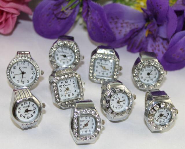 10pcs Assorted silver rhinestone Finger Quartz Ring Watch #22395