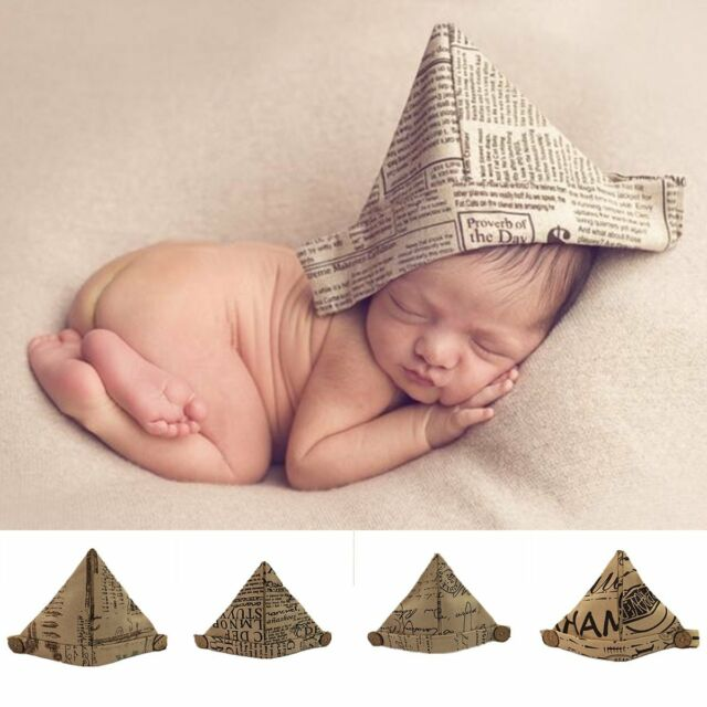 Newborn handworked newspaper cap hand folding paper hat baby photography props