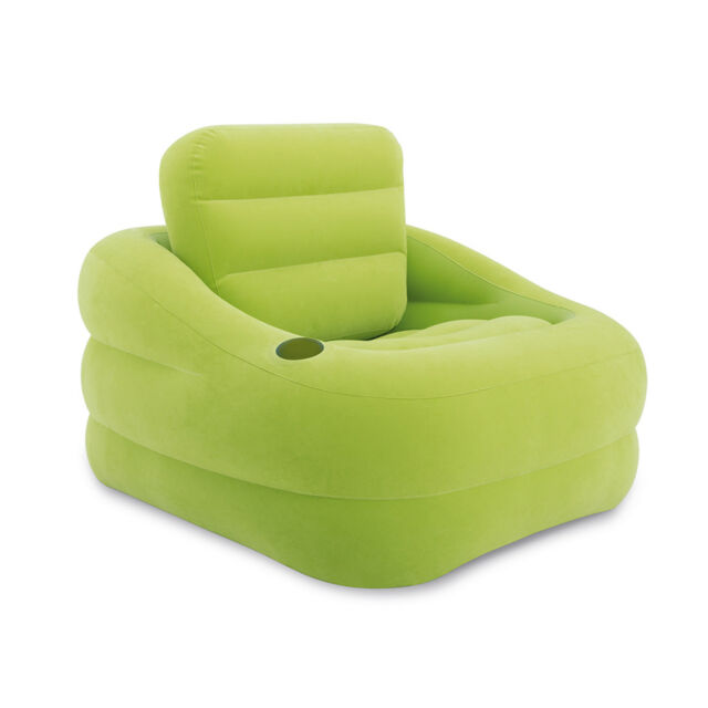 Intex Inflatable Indoor Or Outdoor Accent Chair With Cup Holder Green