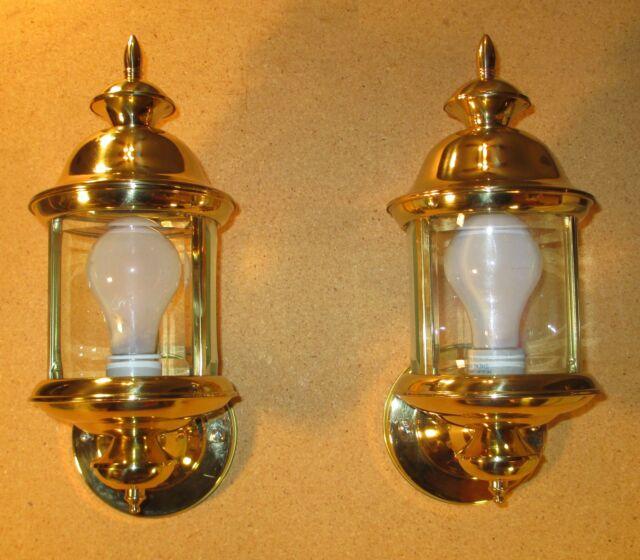 2 vintage brass outdoor lanterns porch lights beveled glass 1999