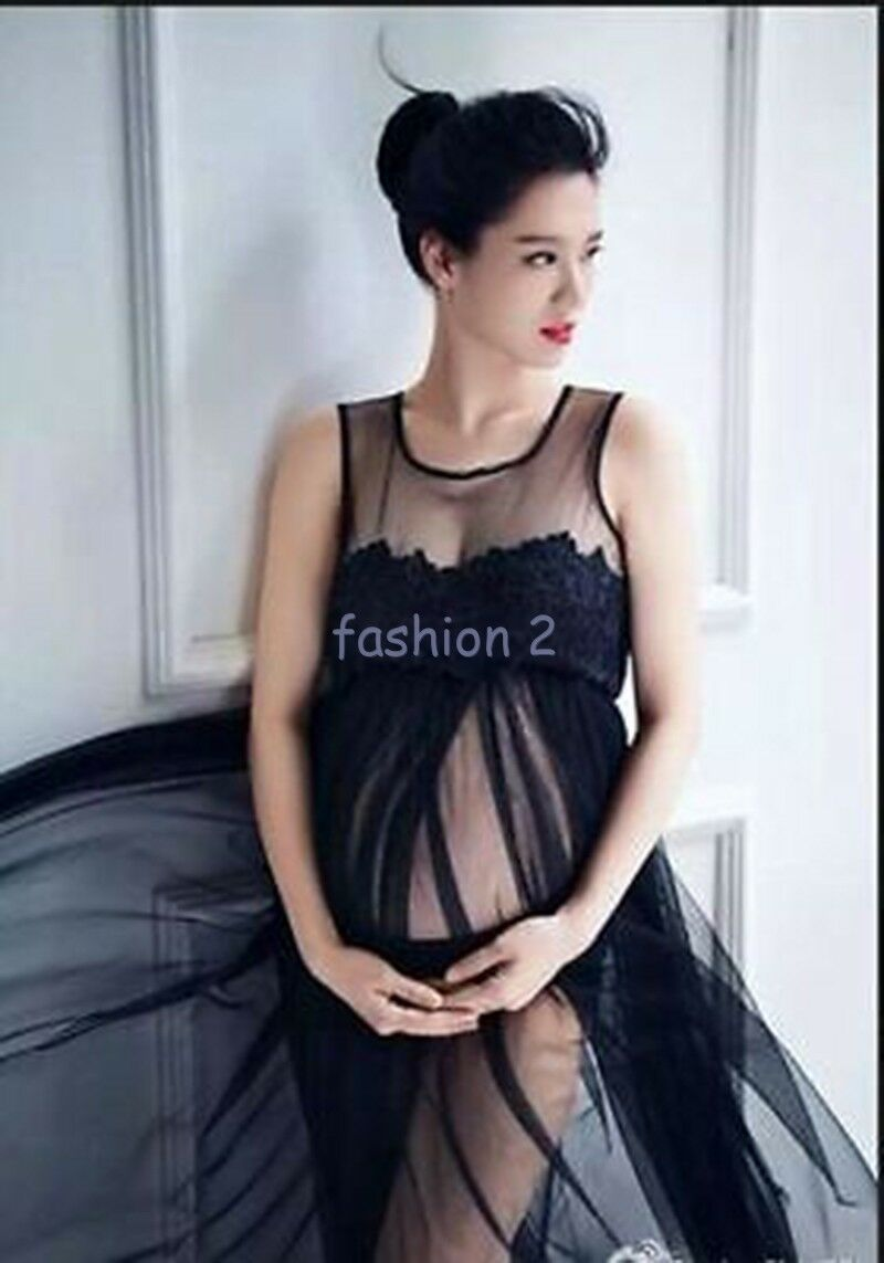 Black maternity gown photography props voile clothes maxi dress picture 1 of 4 ombrellifo Images