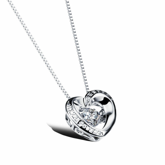 Silver floating dancing crystal zirconia stone heart frame pendant silver floating dancing crystal zirconia stone heart frame pendant necklace a8 aloadofball Choice Image
