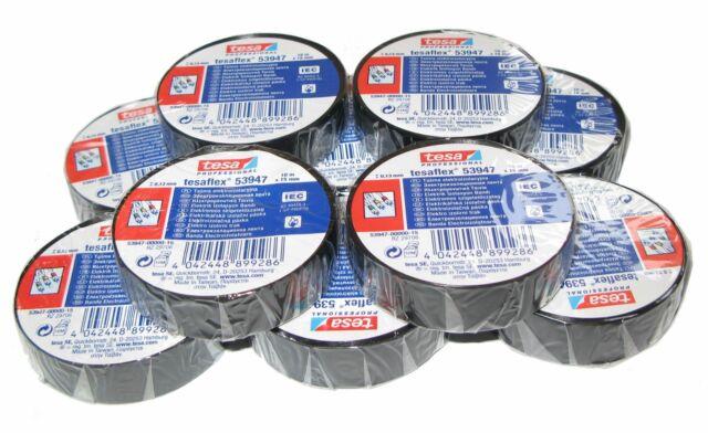 10 x TESA PVC 15mm 10m bis 5000V black single packaging Insulating tape MwSt.