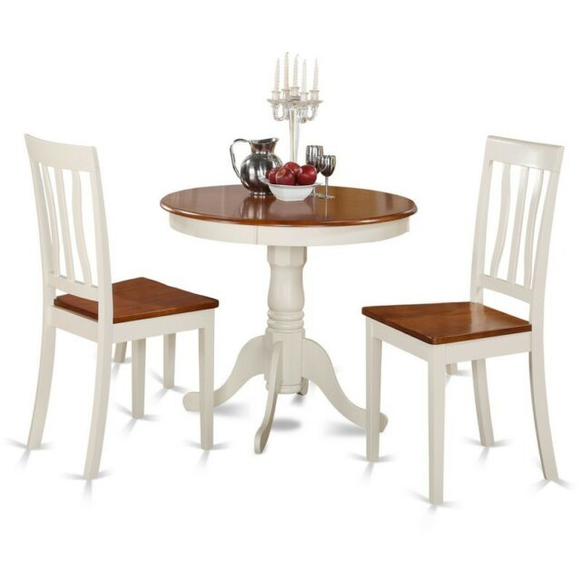 3 Piece Kitchen Nook Dining Set-Kitchen Table And 2 Chairs For Dining Room NEW  sc 1 st  eBay & East West Furniture 3 PC Kitchen Nook Dining Table Set Buttermilk ...