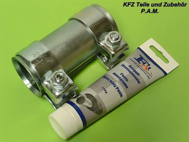 Auspuffschelle 50-54,5 x 125 mm Doppelschelle Rohrverbinder mit Montagepaste