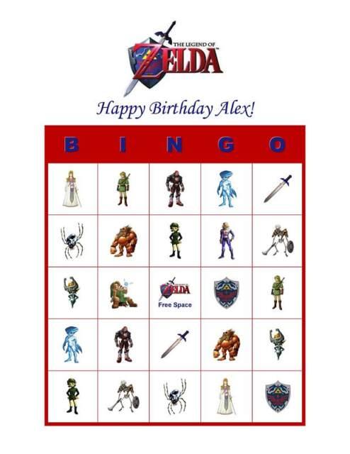Zelda Birthday Party Game Personalized Bingo Cards Ebay