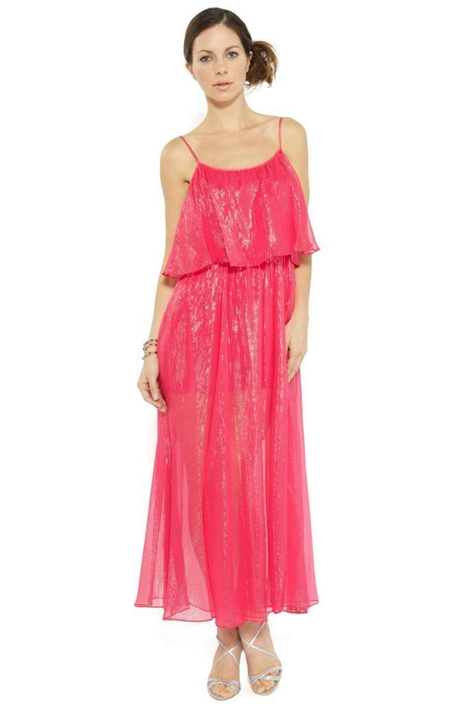 Halston Heritage Tiered Long Dress Rose Pink Sparkle Gown Metallic ...