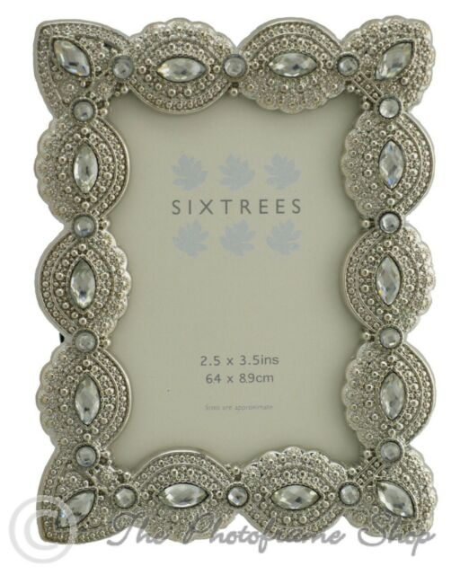 Sixtrees Cecilia Vintage Ornate silver photo frame with beads & crystals 3.5x2.5