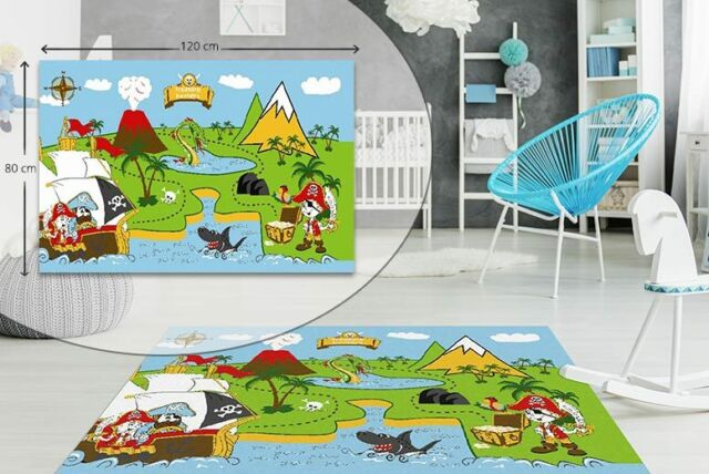 pirate kids bedroom floor rug boys soft play mats carpets non slip washable new - Kids Bedroom Mats