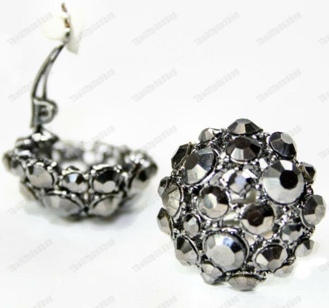 Clip On Gl Crystal Black Earrings Hemae Rhinestone Clips Marcasite Sty