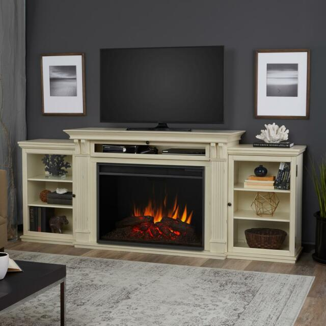 "Find great deals for Real Flame Tracey Grand 83"" TV Stand W/ Ventless Electric Fireplace in Distressed White. Shop with confidence on eBay!"