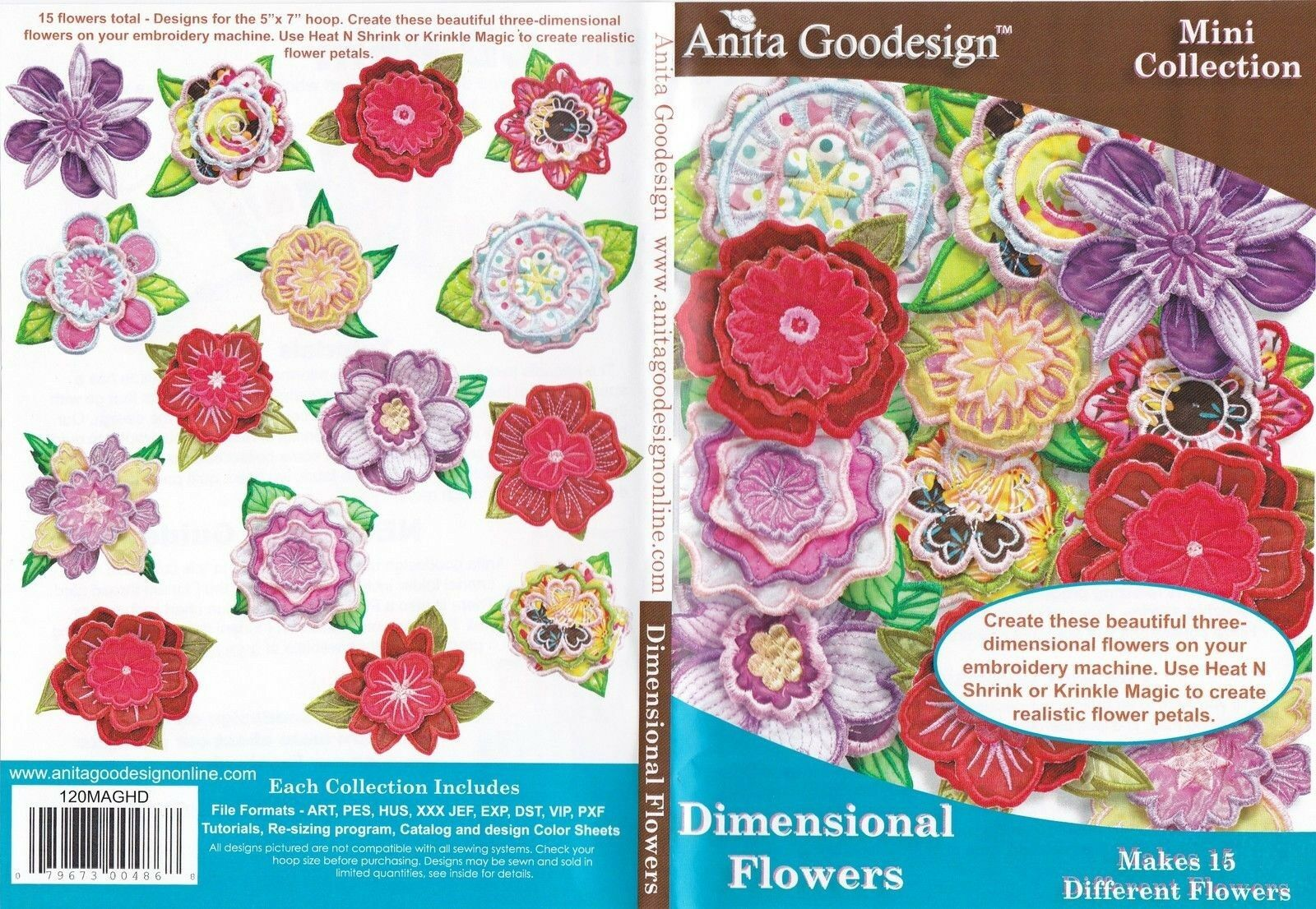 Anita Goodesign Dimensional Flowers Embroidery Machine Design Cd