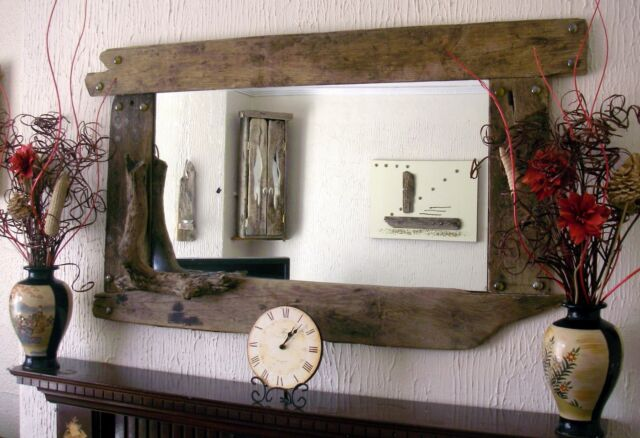 Large Overmantel farmhouse style  Rustic  Driftwood Mirror