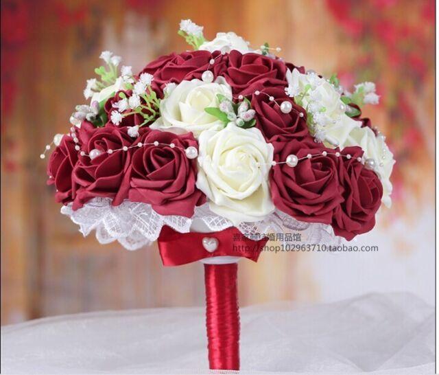 Handmade Burgundy Rose Flower Wedding Bridesmaid Bouquets Silk ...