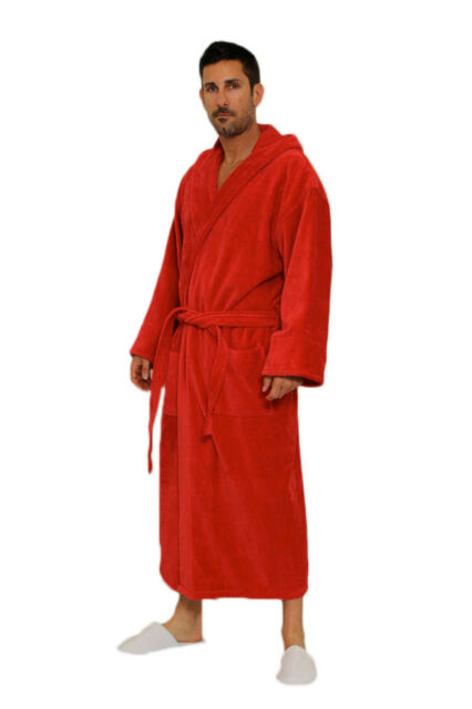 Personalized Men's Hooded Terry Bathrobe, 100% cotton
