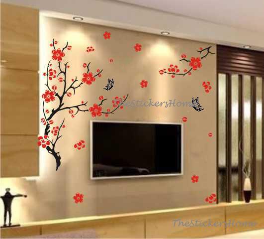 blossom flowers tree wall stickers vinyl art decals living room