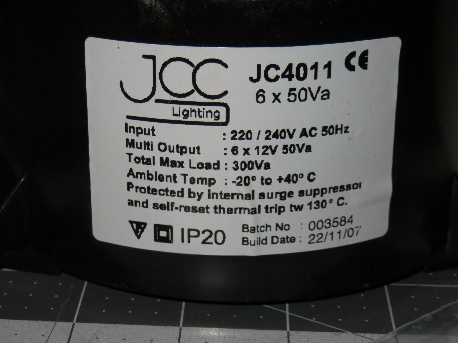 JCC Lighting JC4011 Toroidal Transformer Output 6 X 50va 220-240v AC ...
