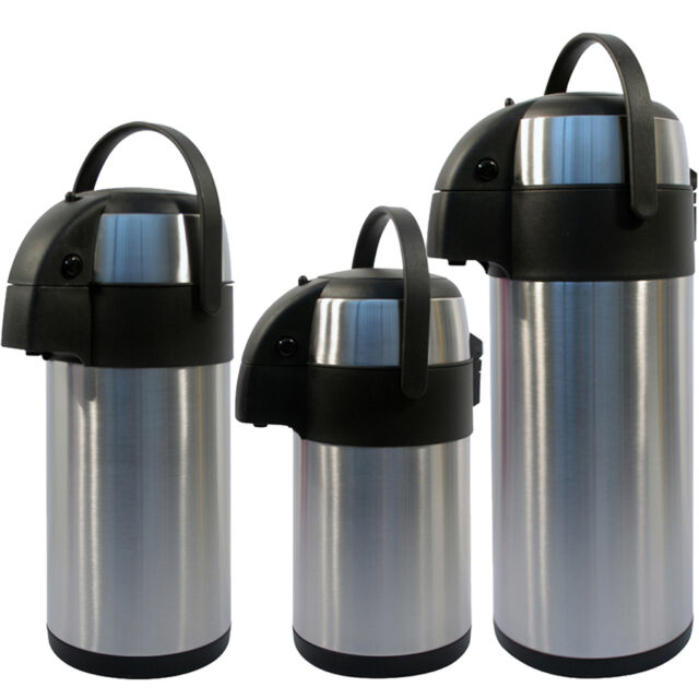 3l 5l Litre Stainless Steel Pump Action Airpot Hot Cold Tea Coffee Flask New