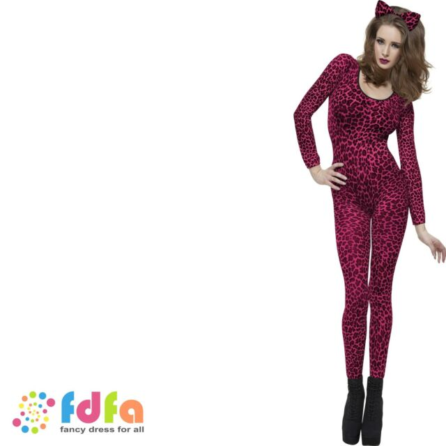PINK LEOPARD PRINT CATSUIT BODYSTOCKING ladies womens fancy dress costume
