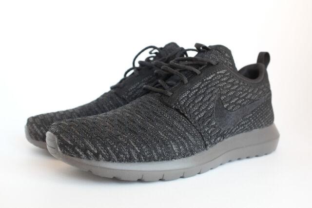 Nike Roshe Run Flyknit Midnight Fog/Black 677243 001 Size 8