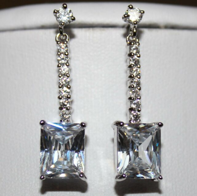 Bridal Cubic Zirconia Stud Dangle Drop Square 18ct White Gold Plated Earrings Uk