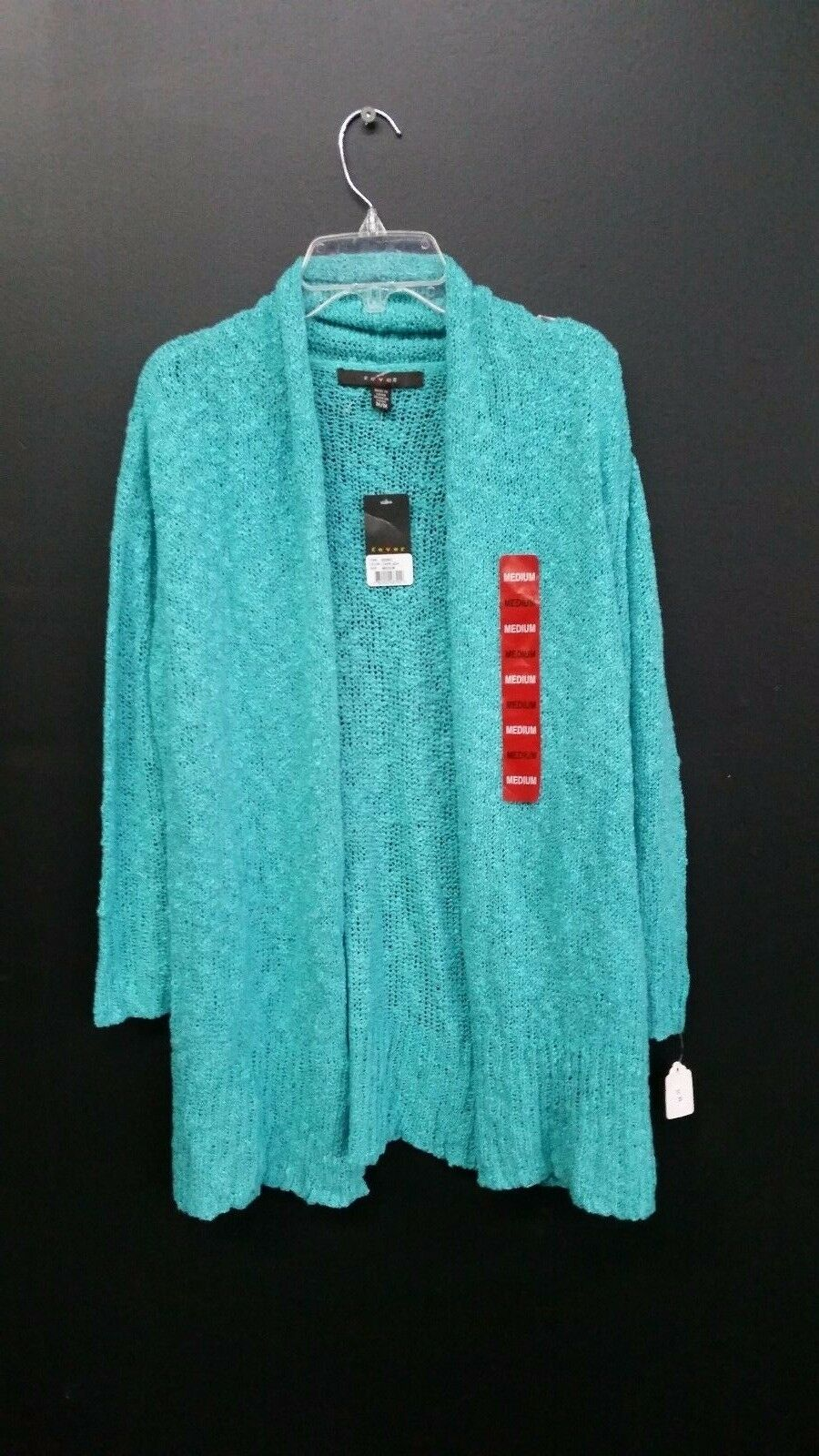Fever Cardigan Sweater Large Turquoise Blue Open Front 3/4 Sleeve ...