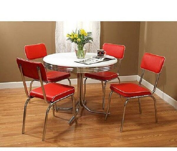 Retro Kitchen Dining Set 50s 5 Piece Vintage Diner Chrome Metal ...