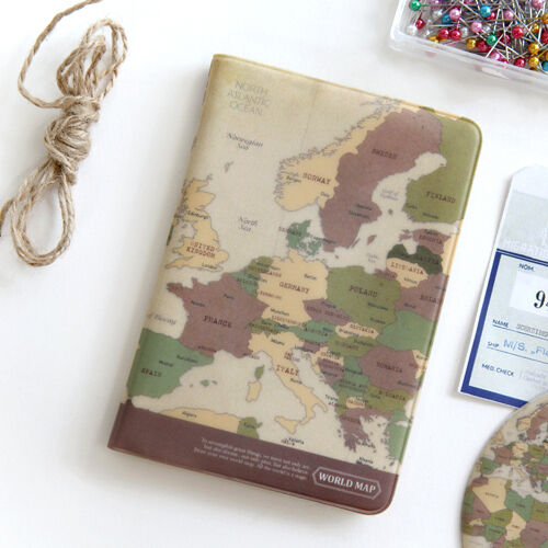 Vintage style brown world map passport holder cover travel wallet resntentobalflowflowcomponenttechnicalissues gumiabroncs Images
