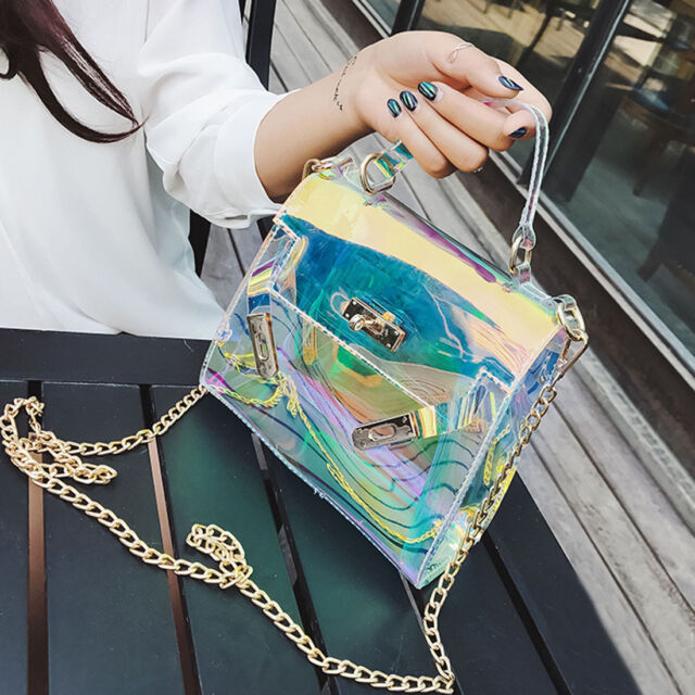 New Womens Fashion Clear Tote Messenger Cross Body Shoulder Jelly Bag Handbag Uk