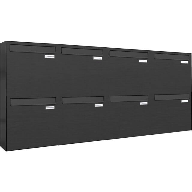 8er Premium Zaun Durchwurf Briefkasten Anthrazit RAL 8 Fach Postkasten