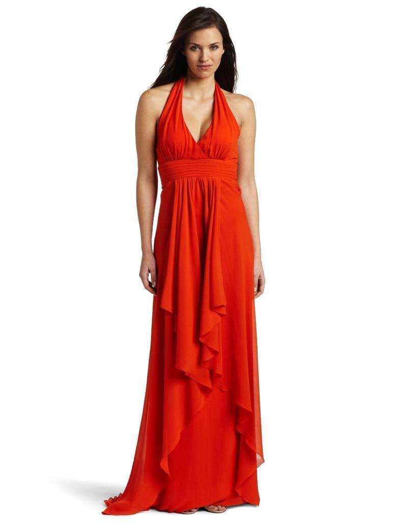 Nicole Miller Tangerine Water Washed Halter Prom Formal Gown Size 8 ...