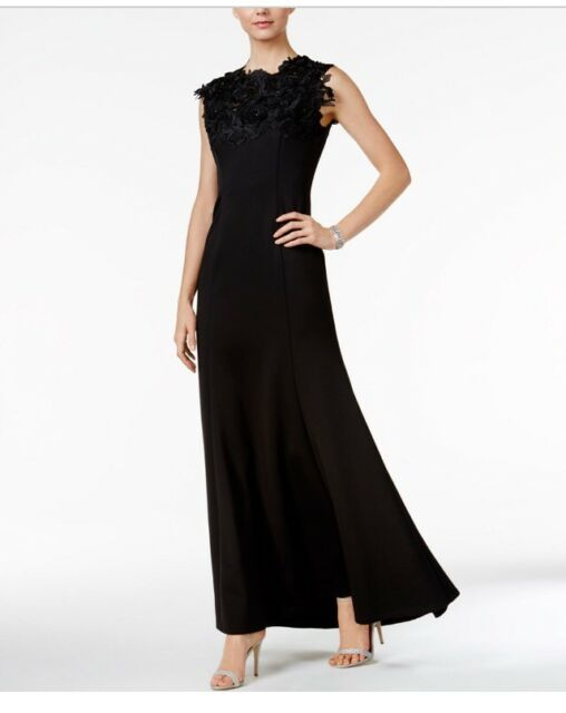 SLNY Black Floral Lace Illusion 12 Sequin Beaded Scuba Gown Dress   eBay