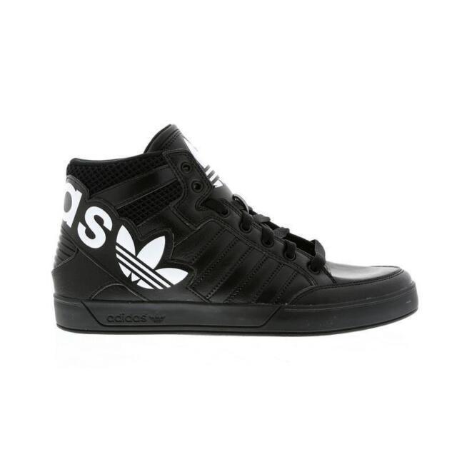 Da Uomo Adidas Hardcourt Hi Big Logo Scarpe Da Ginnastica in Pelle Nera AQ2865
