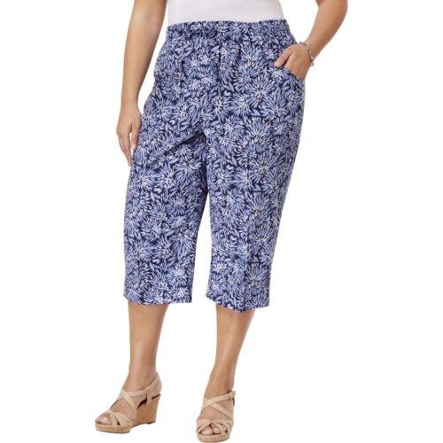 9bd9f28374786 Karen Scott Plus Size Printed Comfort Waist Capri Pants 2X Navy Combo  4528