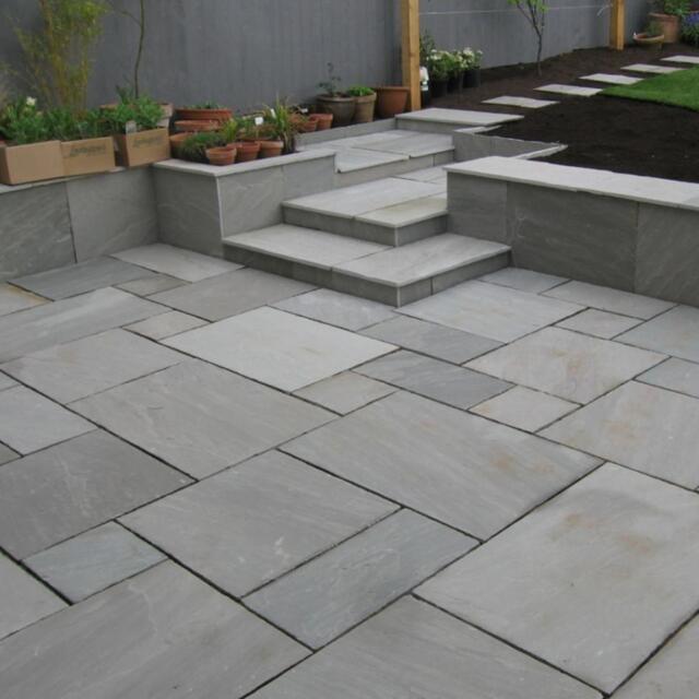 bradstone indian sandstone patio paving slab silver grey. Black Bedroom Furniture Sets. Home Design Ideas