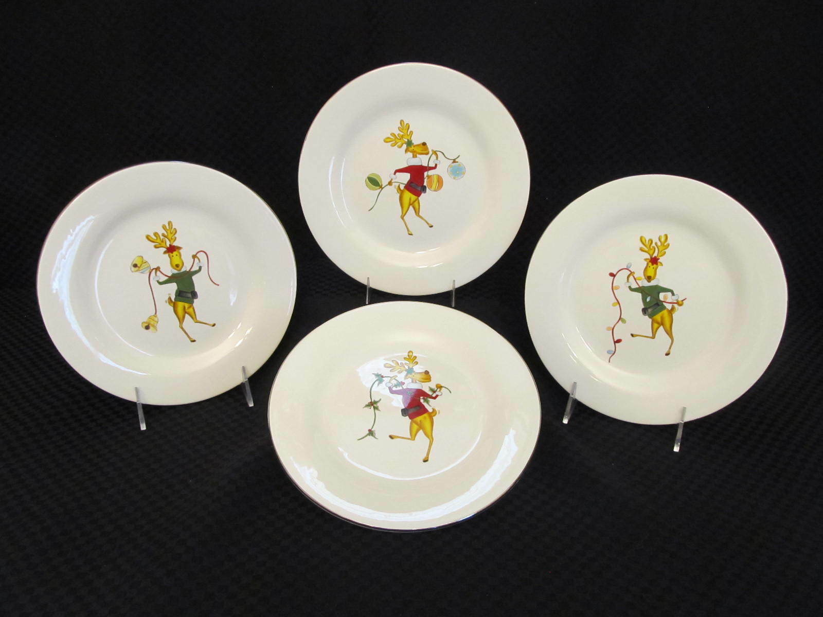 Set of 4 Salad Plates Reindeer Holiday Christmas Winter Wonder ...