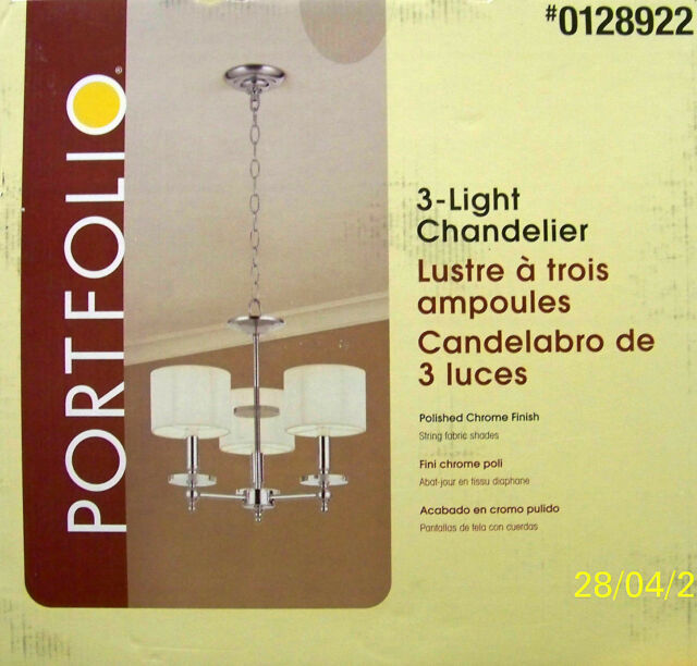 Portfolio 3light chrome chandelier item 0128922model p33703 portfolio 3 light contemporary style polished chrome chandelier new aloadofball Image collections